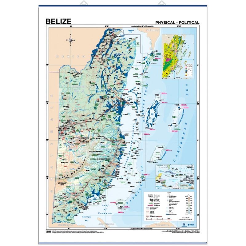 Carte murale du Belize - Physique / Politique