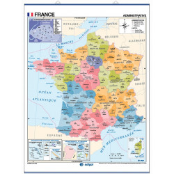 Mapa mural de França - Físic / Polític