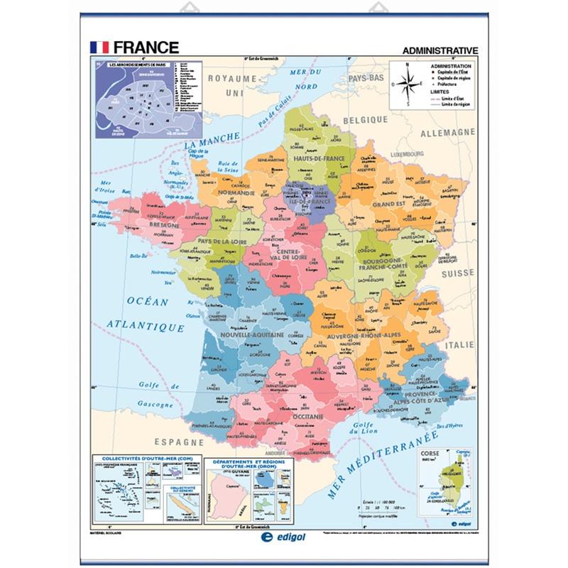 Carte murale de la France - Physique / Politique