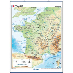 Wall map of France, Physical / Political