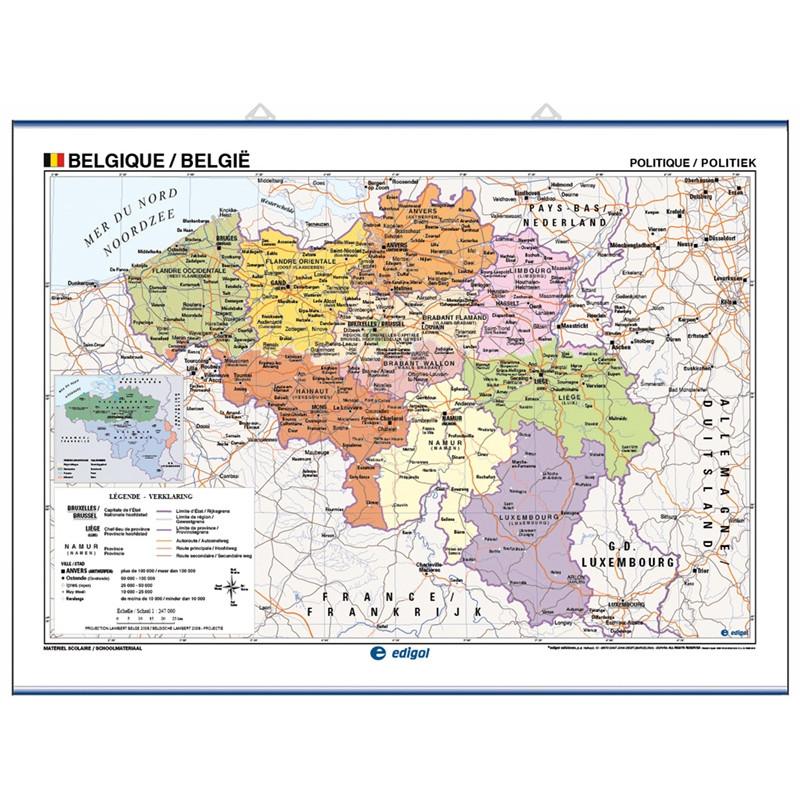 Mapa mural de Bèlgica - Físic / Polític