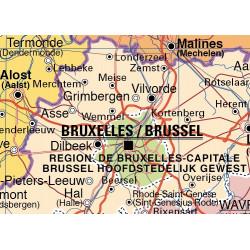Mapa mural de Bélgica, Físico / Político