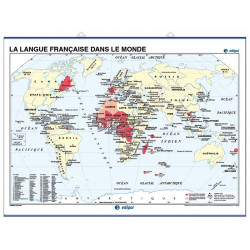 Mapa mural de la Lengua francesa en el mundo  / Mapamundi Físico