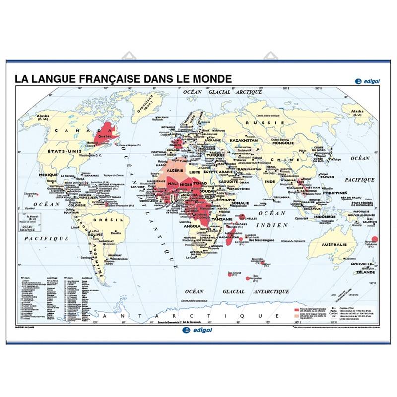 Carte murale de la Langue française dans le monde / Le Monde