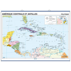 Guadeloupe Wall Map, Physical-Political / Central America & Caribbean