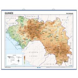 Carte murale de la Guinée - Physique / Politique