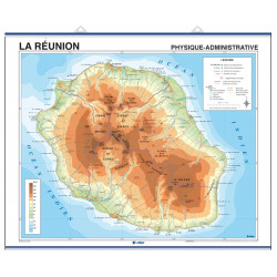 Réunion Wall Map, Physical-Political / Indian Ocean