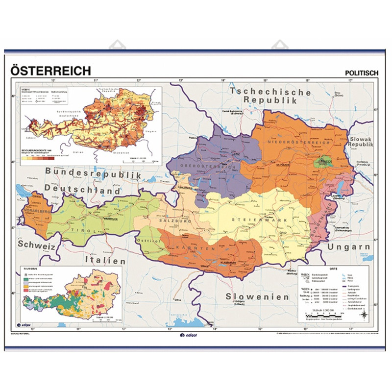 Wall map of Austria, Physical / Political