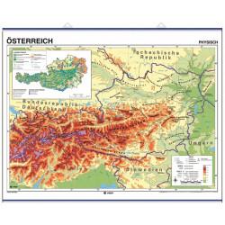 Mapa mural de Austria - Físico / Político