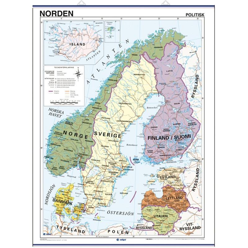 Mapa mural de los Países Nórdicos - Físico / Político