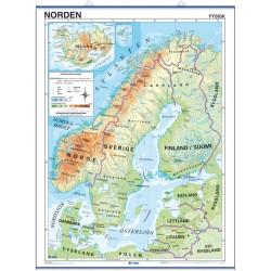 Carte murale des Pays Nordiques - Physique / Politique