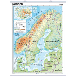 Wall map of the Nordic countries, Physical / Political