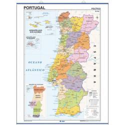 Carte murale du Portugal - Physique / Politique