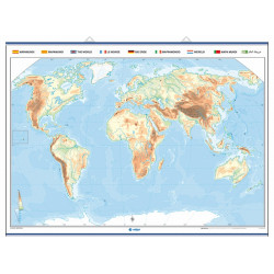 The World outline mural map, Physical / Political