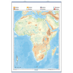 Outline wall map of Africa, Physical / Political