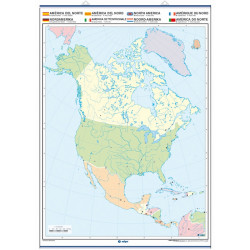 Outline wall map of North America, Physical / Political