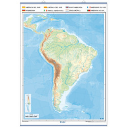 Outline wall map of South America, Physical / Political