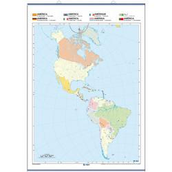 Mapa mural mut d'Amèrica, Físic / Polític