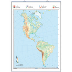 Outline wall map of America, Physical / Political