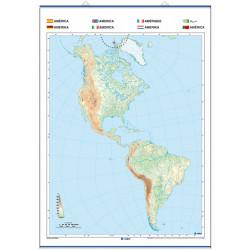 Mapa mural mudo de América, Físico / Político