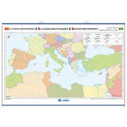 Mapa mural mut de la Conca Mediterrània, Físic / Polític