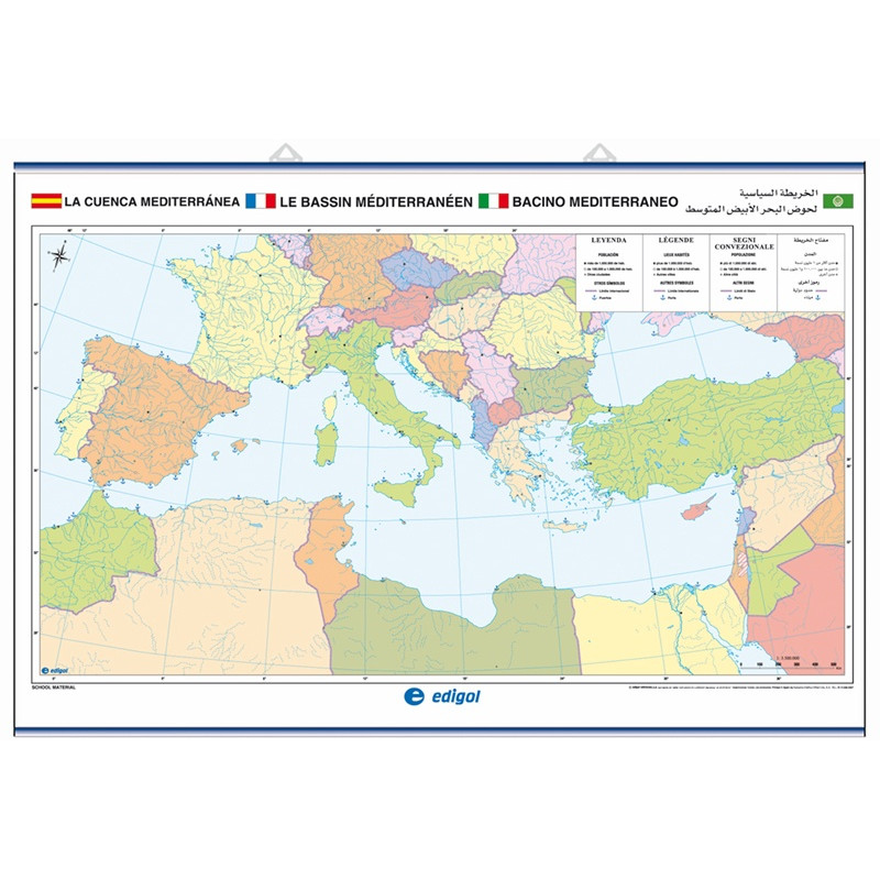 Outline wall map of the Mediterranean Basin, Physical / Political