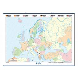 Mapa mural mudo de Europa, Físico / Político