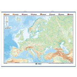 Mapa mural mut d'Europa, Físic / Polític