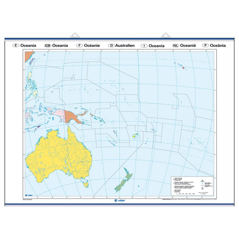 Outline wall map of Oceania, Physical / Political