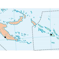 Mapa mural mudo de Oceanía, Físico / Político