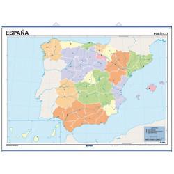 Mapa mural mudo de España, Físico / Político