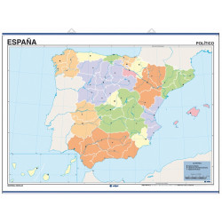 Outline wall map of Spain, Physical / Political