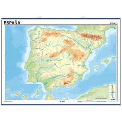 Carte murale muette de l'Espagne, Physique / Politique