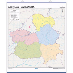 Outline wall map of Castilla la Mancha, Physical / Political