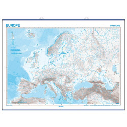 Outline wall map of Europe (2 colours), Physical / Political