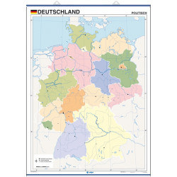 Outline wall map of Germany, Physical / Political
