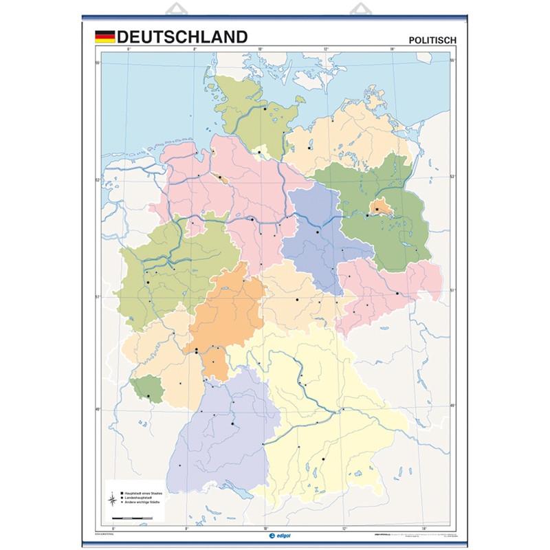Mapa mural mut d'Alemanya, Físic / Polític