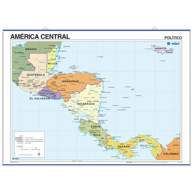 Mapa pòster d'Amèrica Central, 70 x 50, Polític