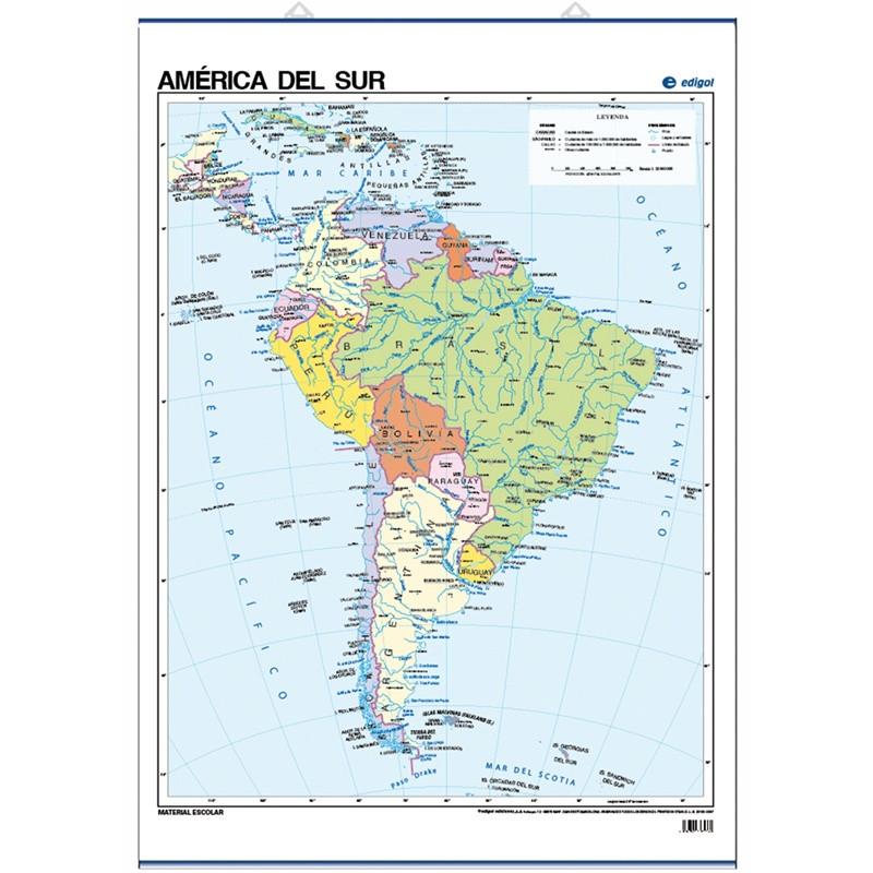 Mapa pòster d'Amèrica del Sud, Polític, 70 x 50, Polític