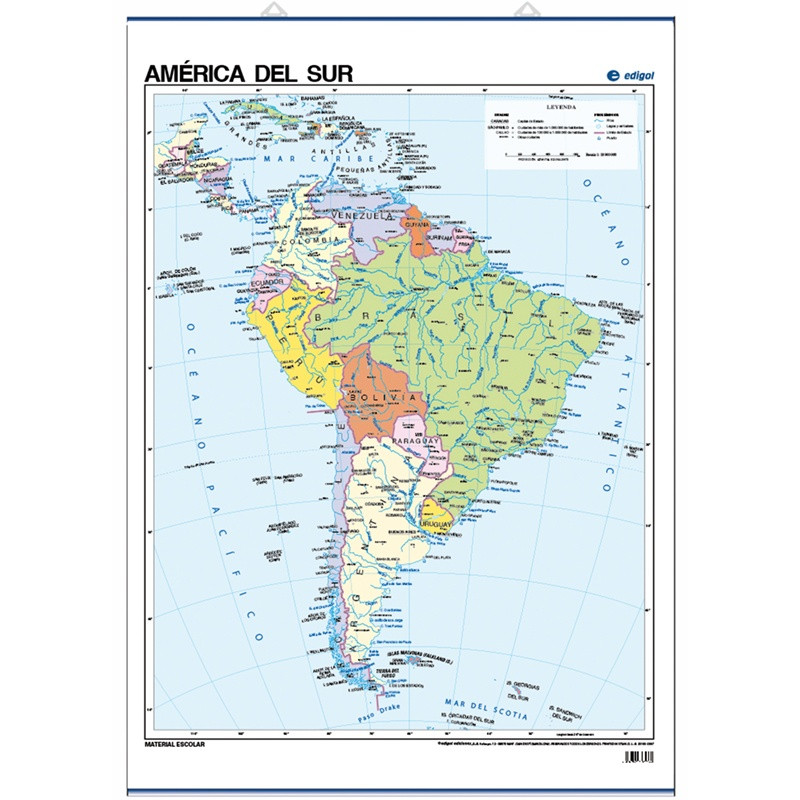 Poster map of South America, Politician, 70 x 50, Political