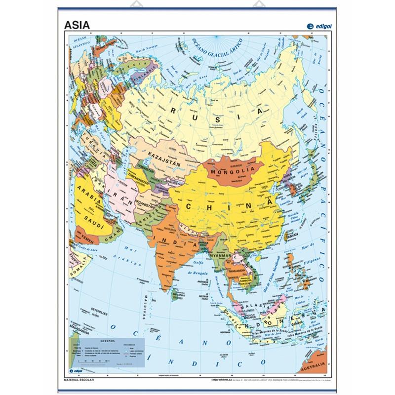 Mapa mural d'Àsia, 50 x 70, Polític