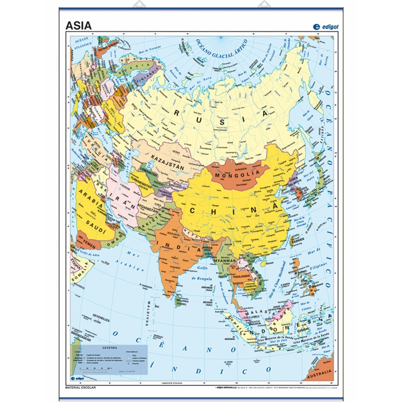 Poster map of Asia, 50 x 70, Political