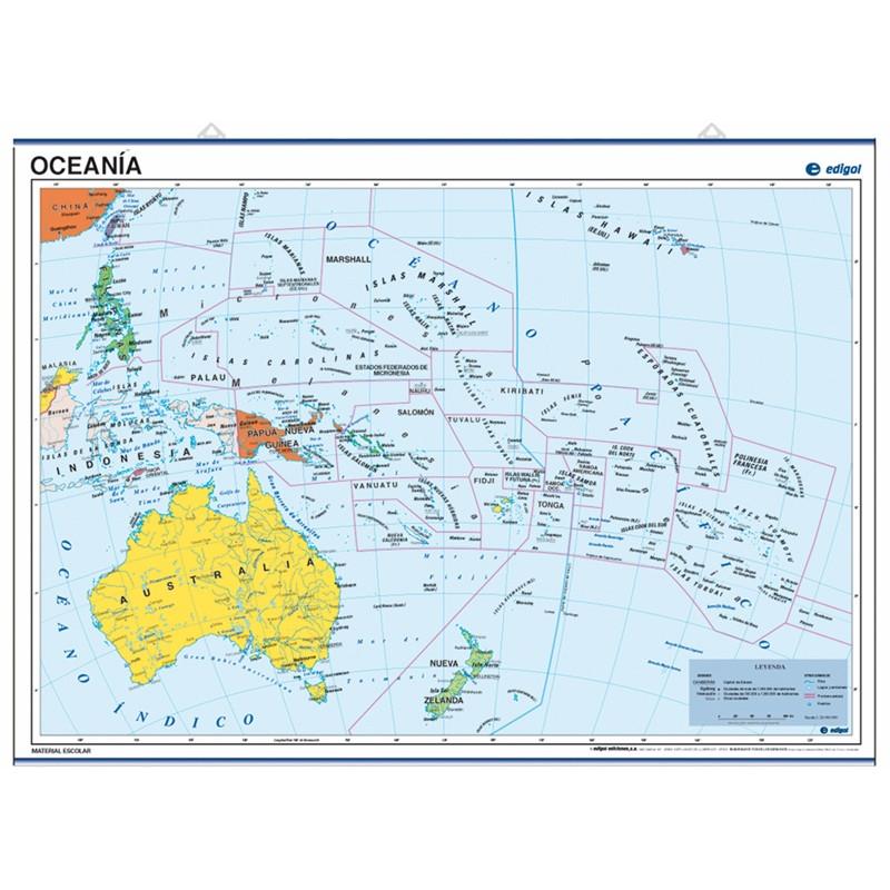Carte poster de l'Océanie, 70 x 50, Politique