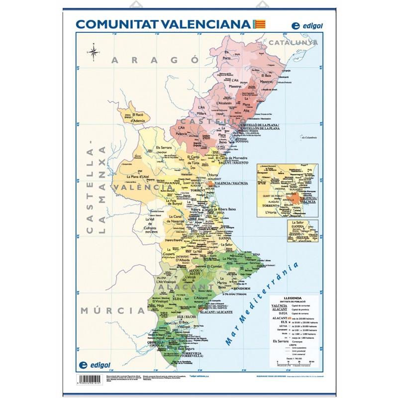 Mini-mural - Comunitat Valenciana, físic / econòmic