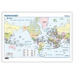 Escritorio - Mapamundi Americéntrico, político / físico